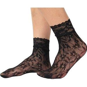 Floral sheer fishnet dress socks women
